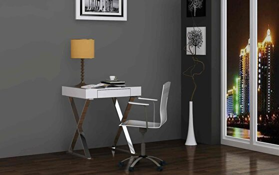 Elm desk small, high gloss white