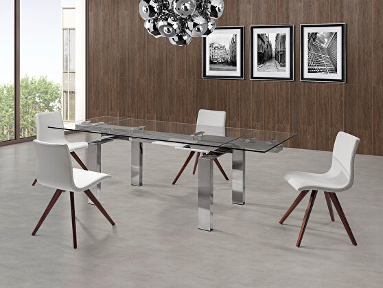 Cuatro extendable dining table tempered clear glass top