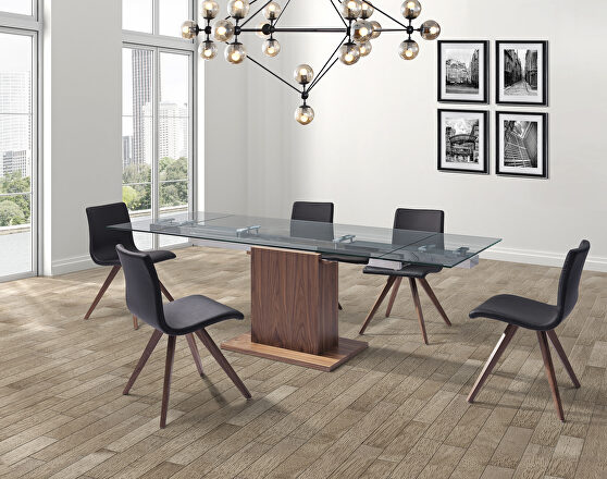 Extendable dining table tempered clear glass top