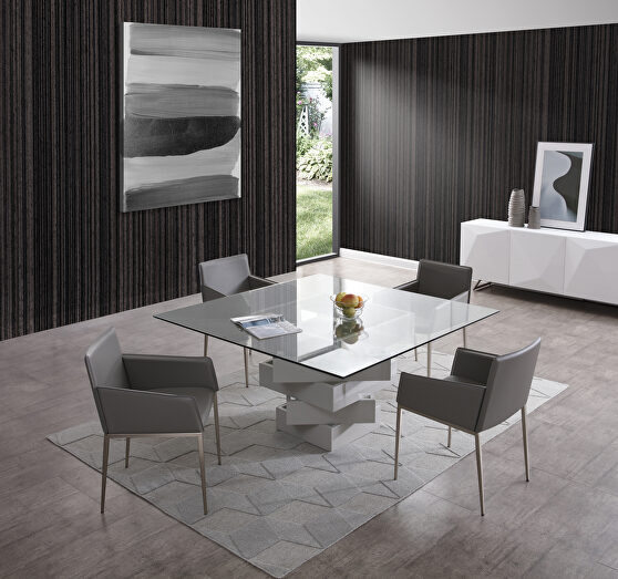 Dining table, high gloss gray lacquer