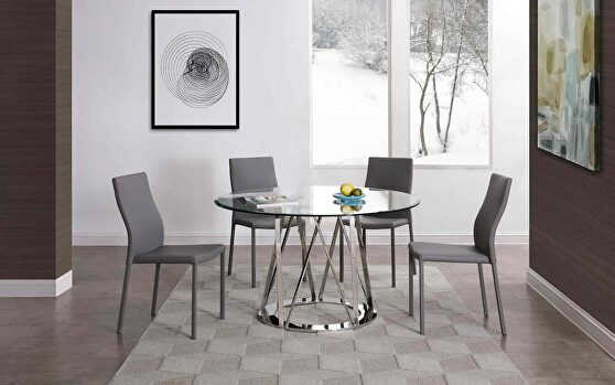 Round dining table, tempered clear glass top