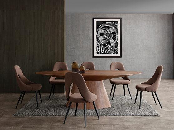 Oval dining table, walnut veneer