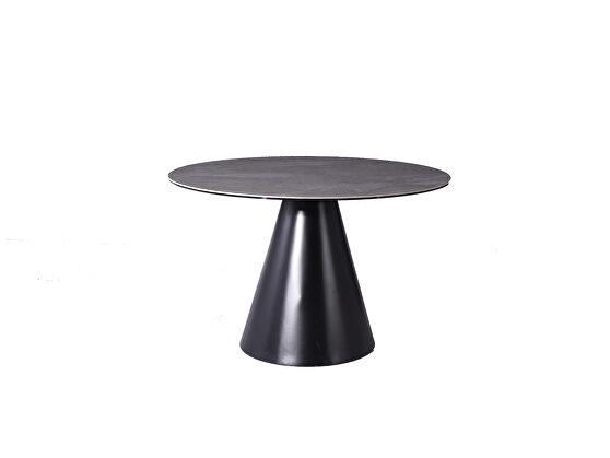 Round dining table, gray ceramic top