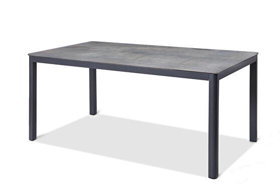 Indoor / outdoor dining table, gray aluminium