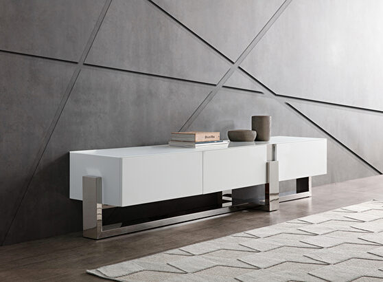 Tv unit tempered crystal frosted glass top