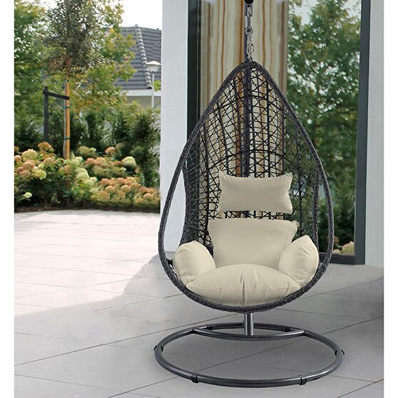 Outdoor egg chair, gray wicker frame