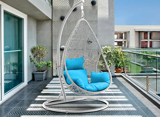 Outdoor egg chair, wash white wicker frame
