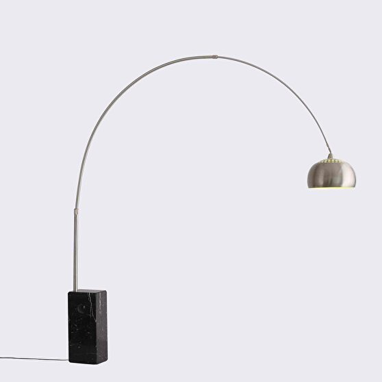 Floor lamp aluminum and black marble base