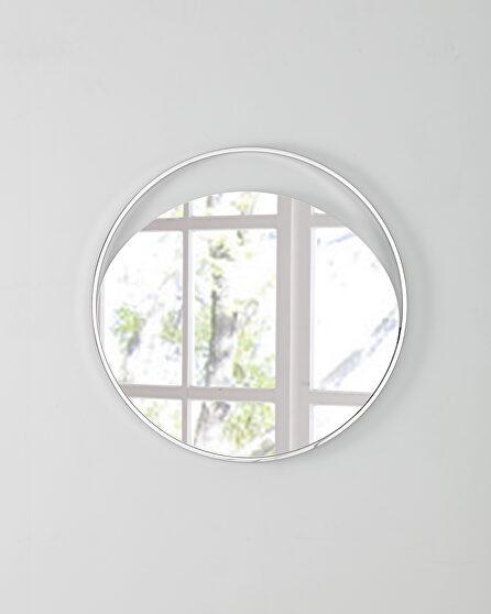 Medium round  mirror in matte white