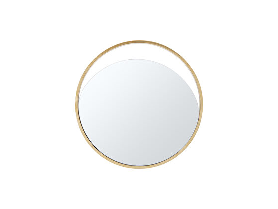 Small round  mirror in matte black and gold