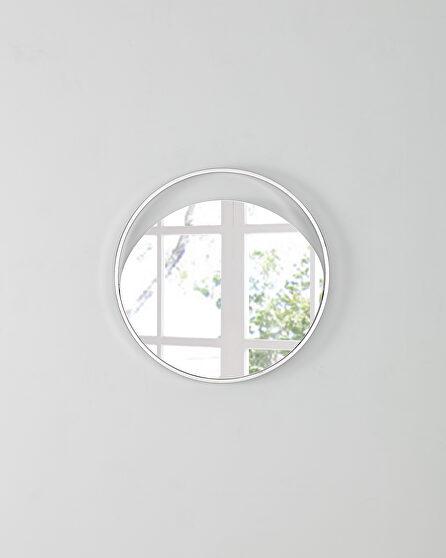 Small round  mirror in matte white