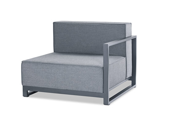 Indoor/outdoor modular right arm chair gray