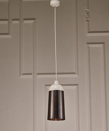 Pendant lamp, silver and white aluminium