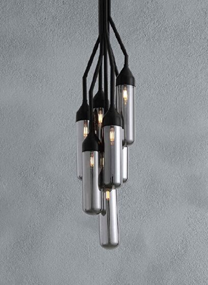Pendant lamp black carbon steel and glass
