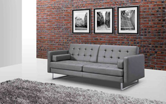 Sofa bed gray faux leather stainless steel legs