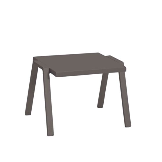 Indoor/outdoor side table taupe aluminum powdercoating finish