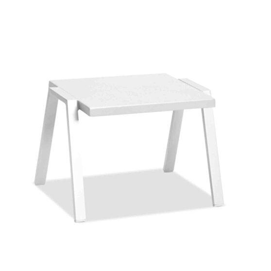 Indoor/outdoor side table aluminium powdercoating finish matte white