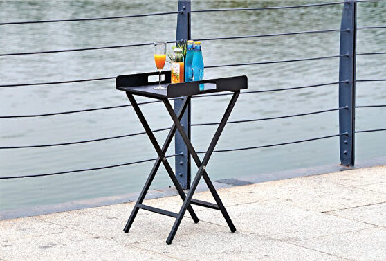 Indoor/outdoor tray side table with alum plate and stand
