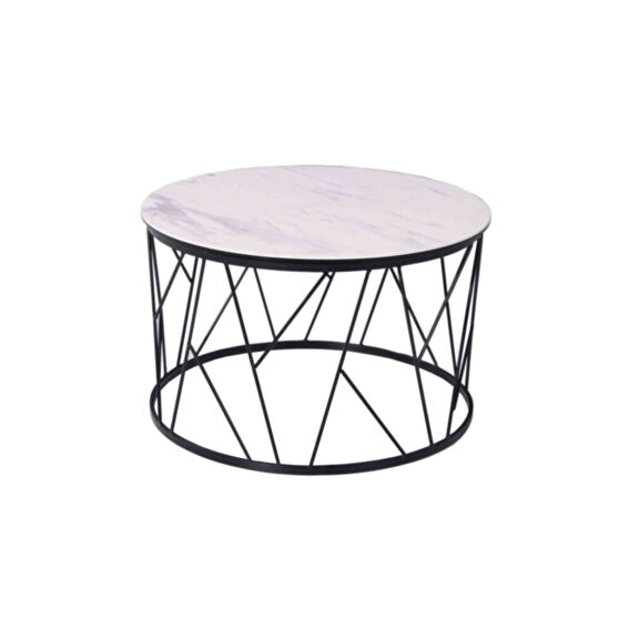 Side table glass and white ceramic top
