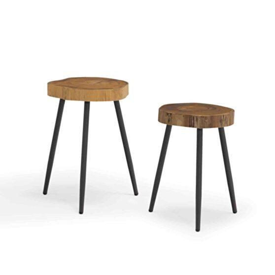Indoor/outdoor side table, teak wood top