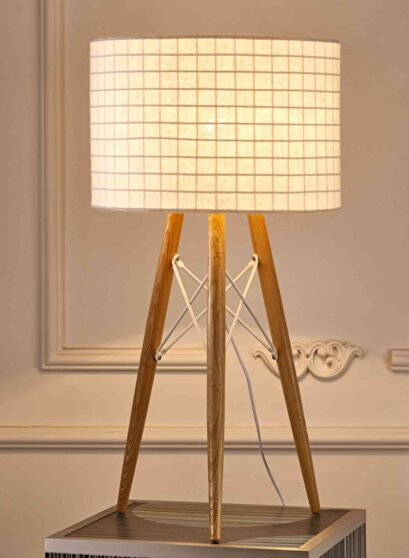 Amber table lamp wooden base