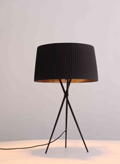 Table lamp black carbon steel and fabric