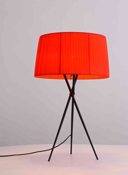 Table lamp red carbon steel base and fabric shade