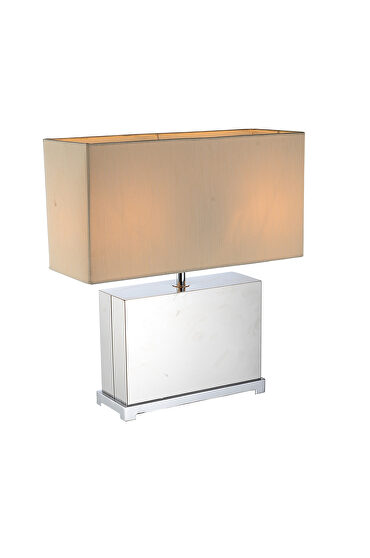 Table lamp stainless steel base and off white fabric shade