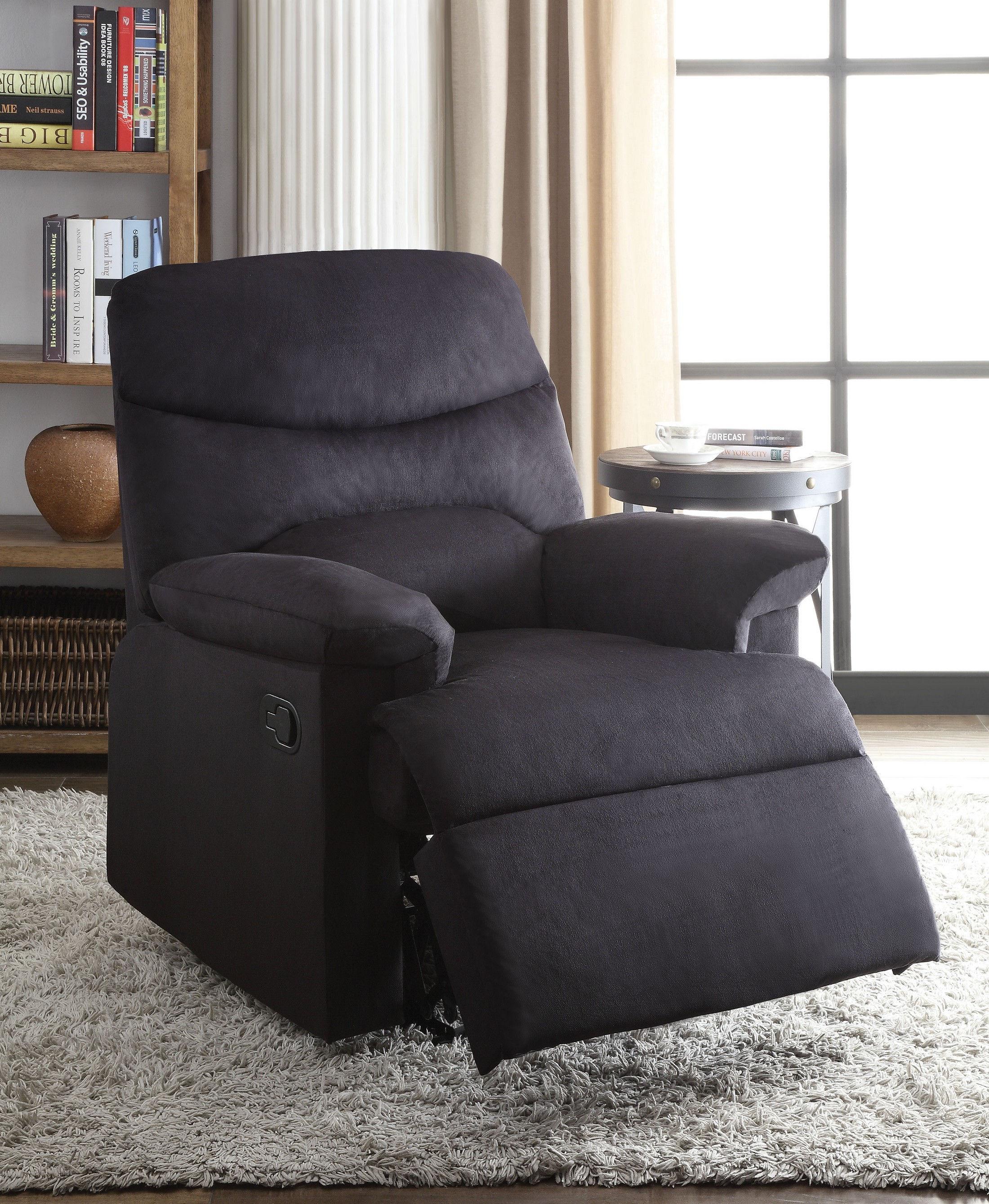 Arcadia Black Chair 00701 Acme Corporation Recliner Sofas
