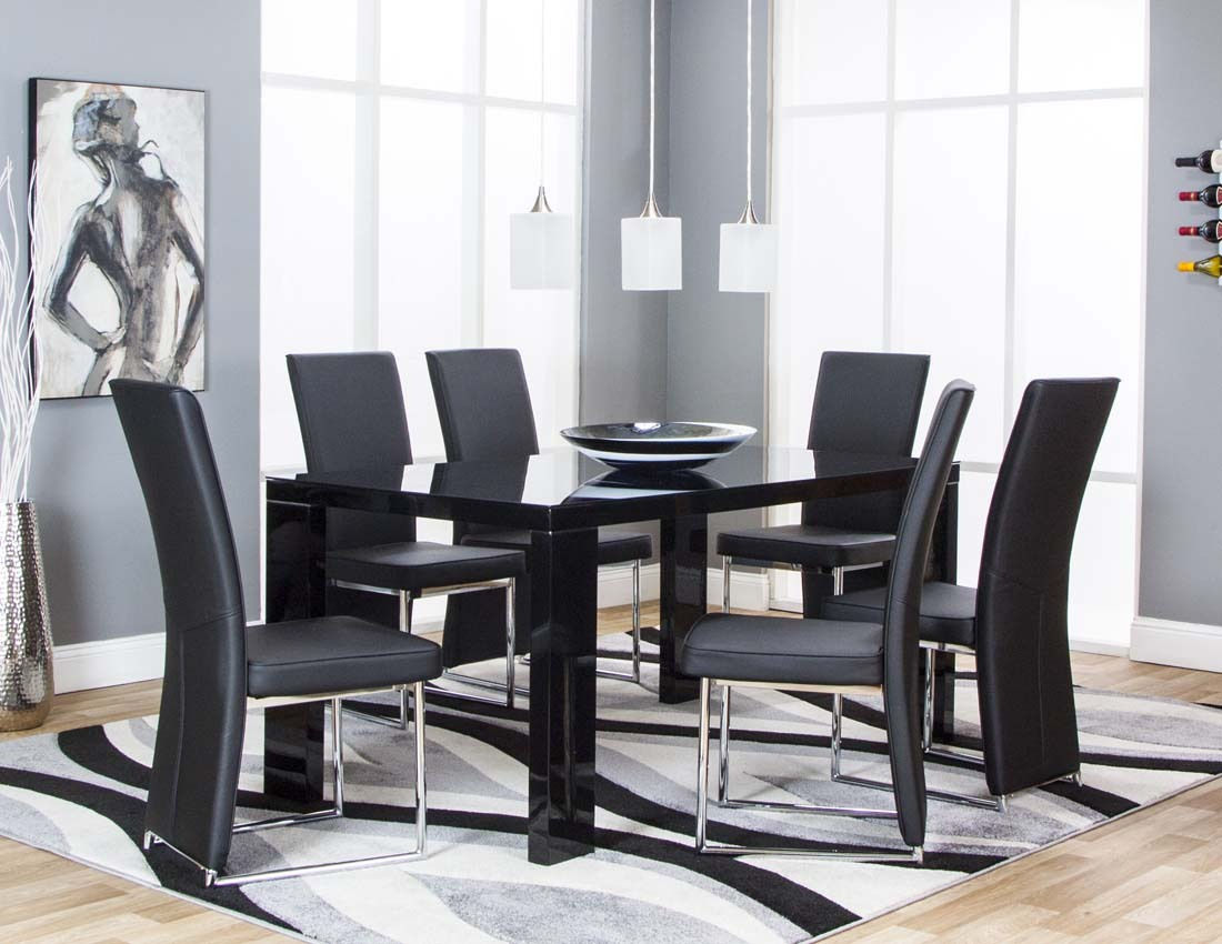 Venice Black Table 4 Chairs 5777 Cramco Dining Room Sets Comfyco Furniture