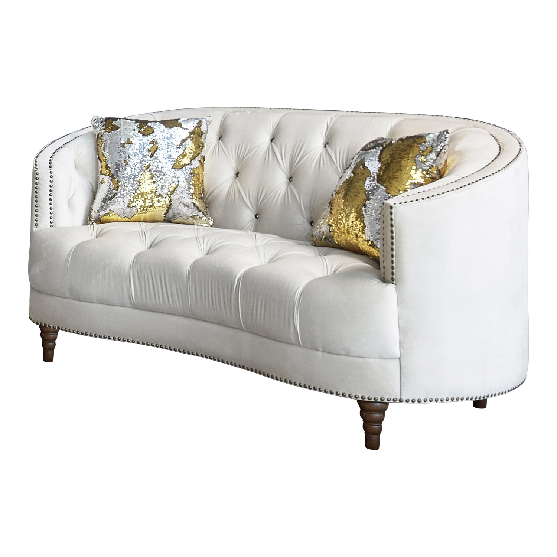 Picture of: Avonlea Off White Loveseat 509161 930251 Lenum Coaster Furniture Loveseats Comfyco Furniture
