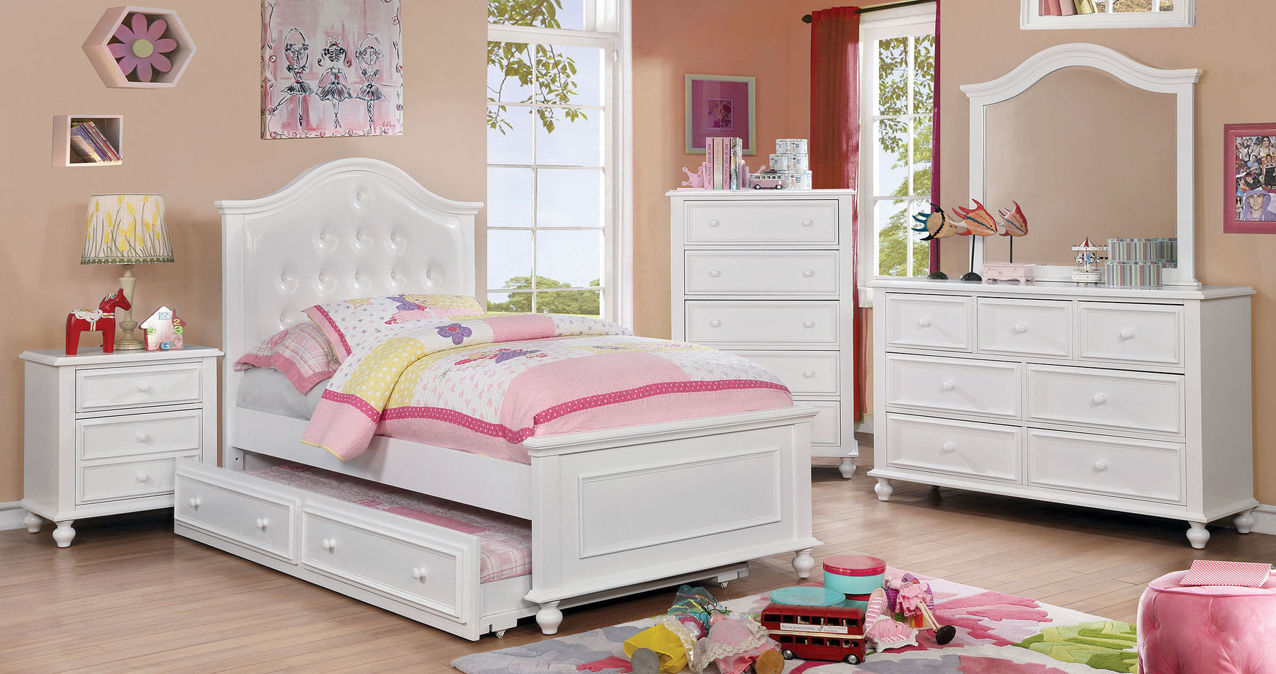 Olivia White Twin Size Bed Cm7155 Furniture Of America Kids Room Comfyco Furniture