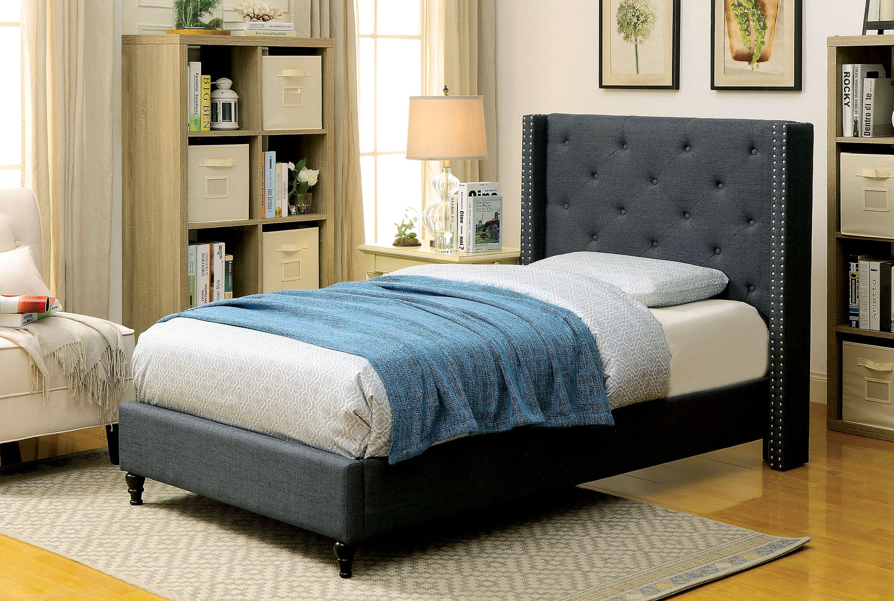 Annabelle Blue Twin Size Bed Cm7677bl Furniture Of America Twin Size Beds Comfyco Furniture