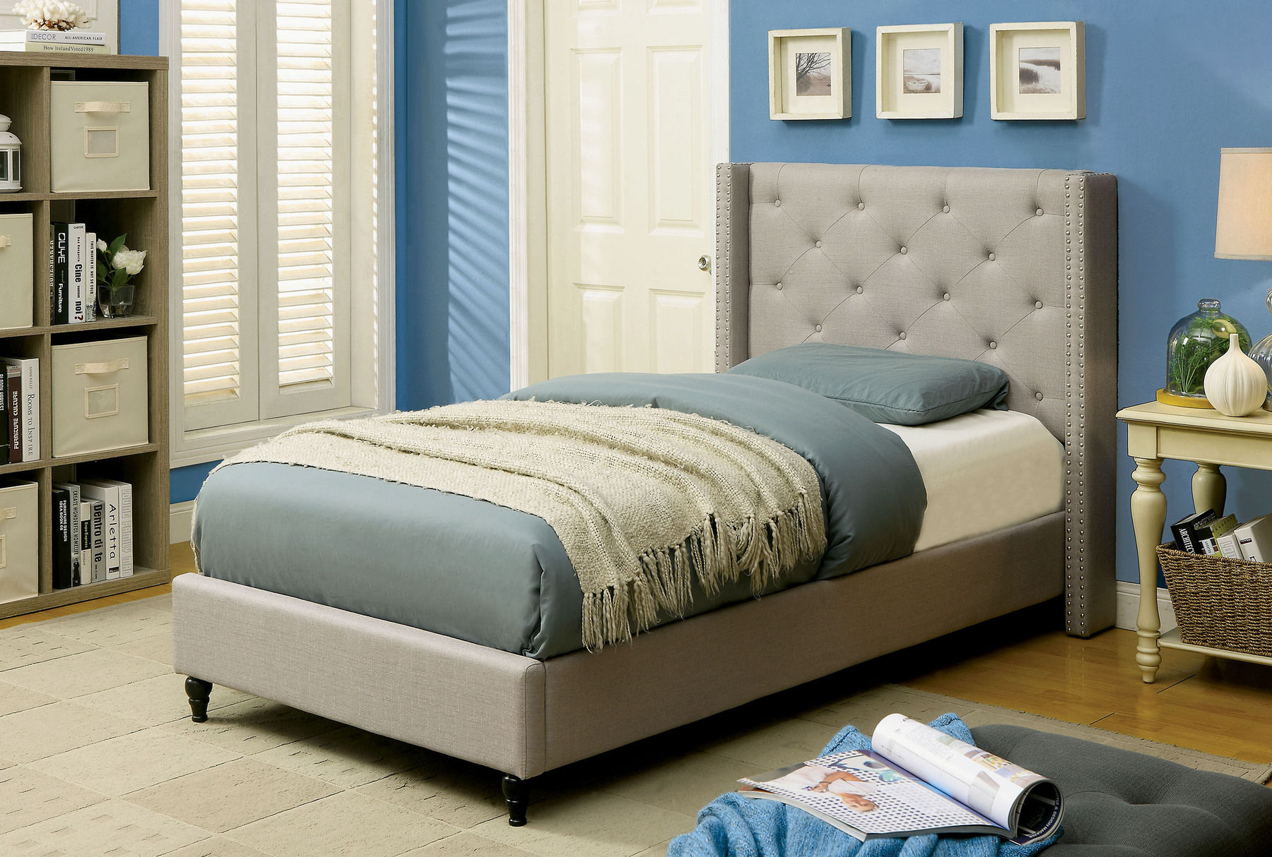 Annabelle Gray Twin Size Bed Cm7677gy Furniture Of America Twin Size Beds Comfyco Furniture