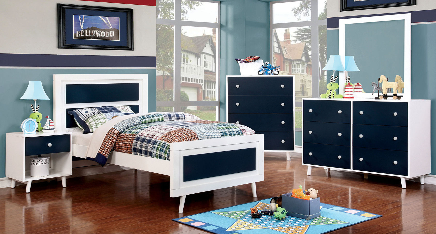 Alivia Blue White Twin Size Bed Cm7850 Tr452 Furniture Of America Kids Room Comfyco Furniture