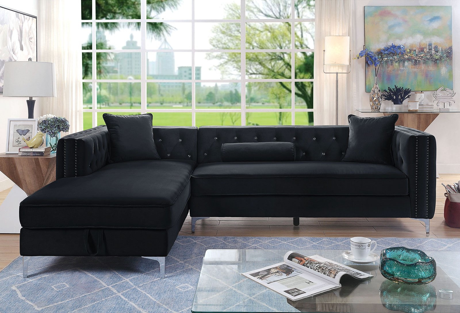 Picture of: Amie Black Sectional Sofa Cm6652bk Sect Furniture Of America Sectional Sofas Comfyco Furniture