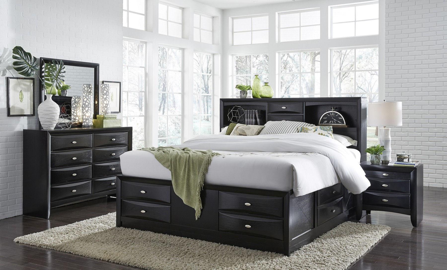 Linda Queen Set Black Queen Size B 2ns Dr Mr Linda Global Furniture Usa Bedroom Sets Comfyco Furniture