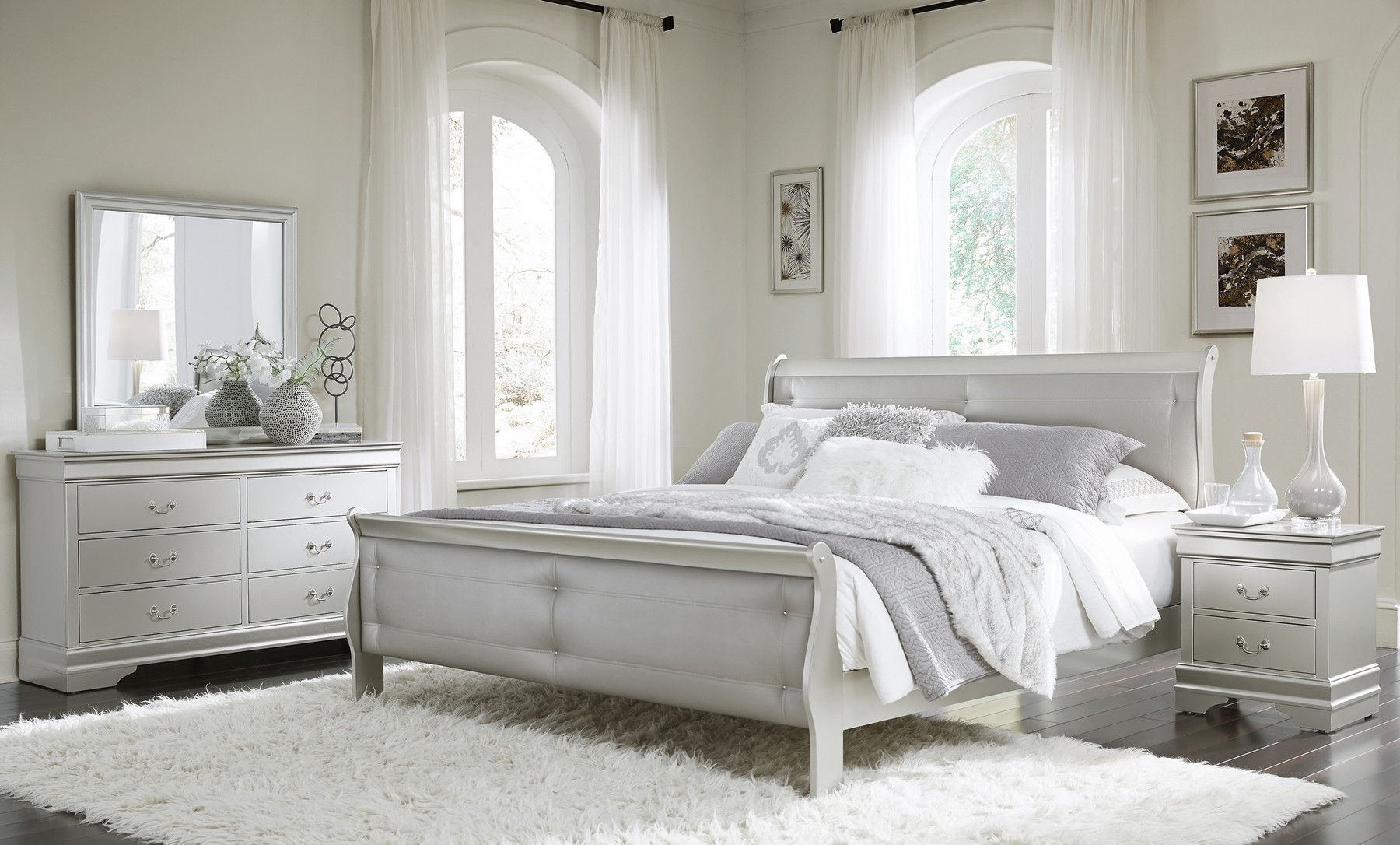 Marley Silver Queen Set Queen Size B 2ns Dr Mr Marley Global Furniture Usa Bedroom Sets Comfyco Furniture