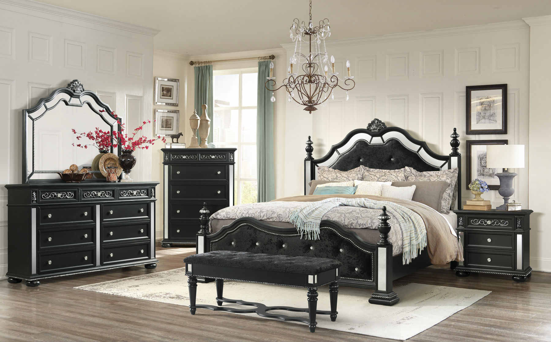 Diana Black Queen Size Bed