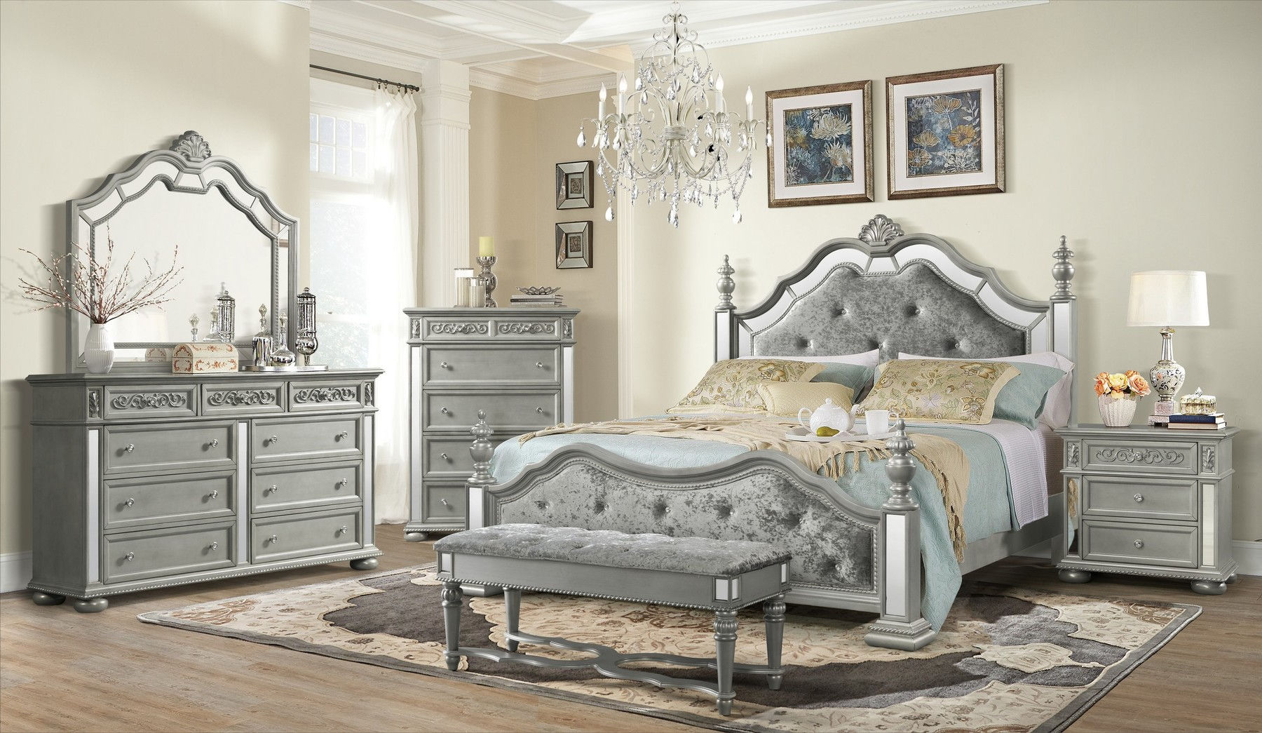 Diana Silver Queen Size Bed Diana Aaden Global Furniture Usa Modern Beds Comfyco Furniture