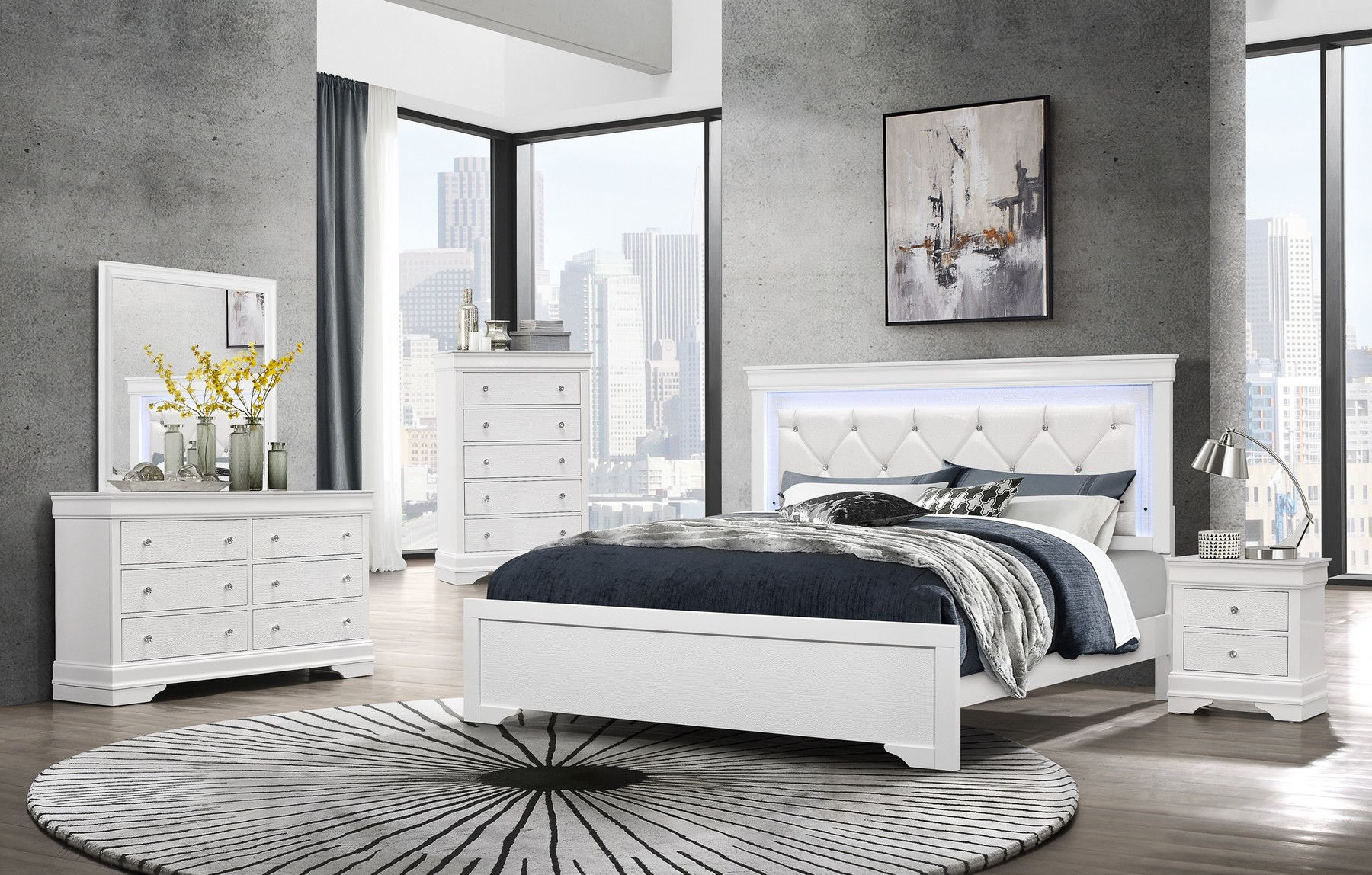 Pompei White King Set King Size B 2ns Dr Mr Pompei Global Furniture Usa Bedroom Sets Comfyco Furniture