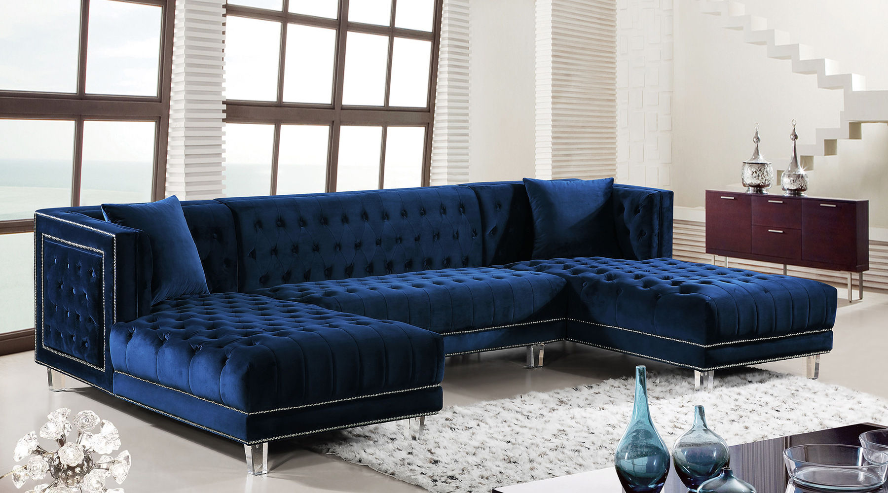 Moda Blue Sectional Sofa 631 Suzanne Meridian Furniture Sectional Sofas Comfyco Furniture