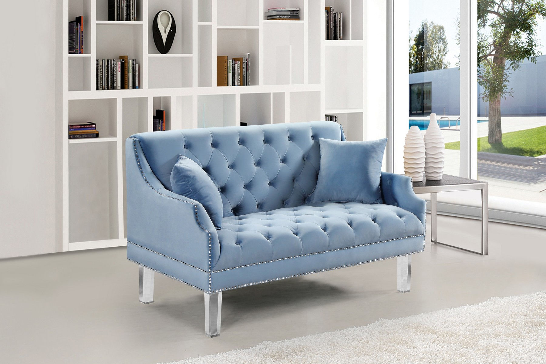 Stupendous Roxy Blue Loveseat Squirreltailoven Fun Painted Chair Ideas Images Squirreltailovenorg