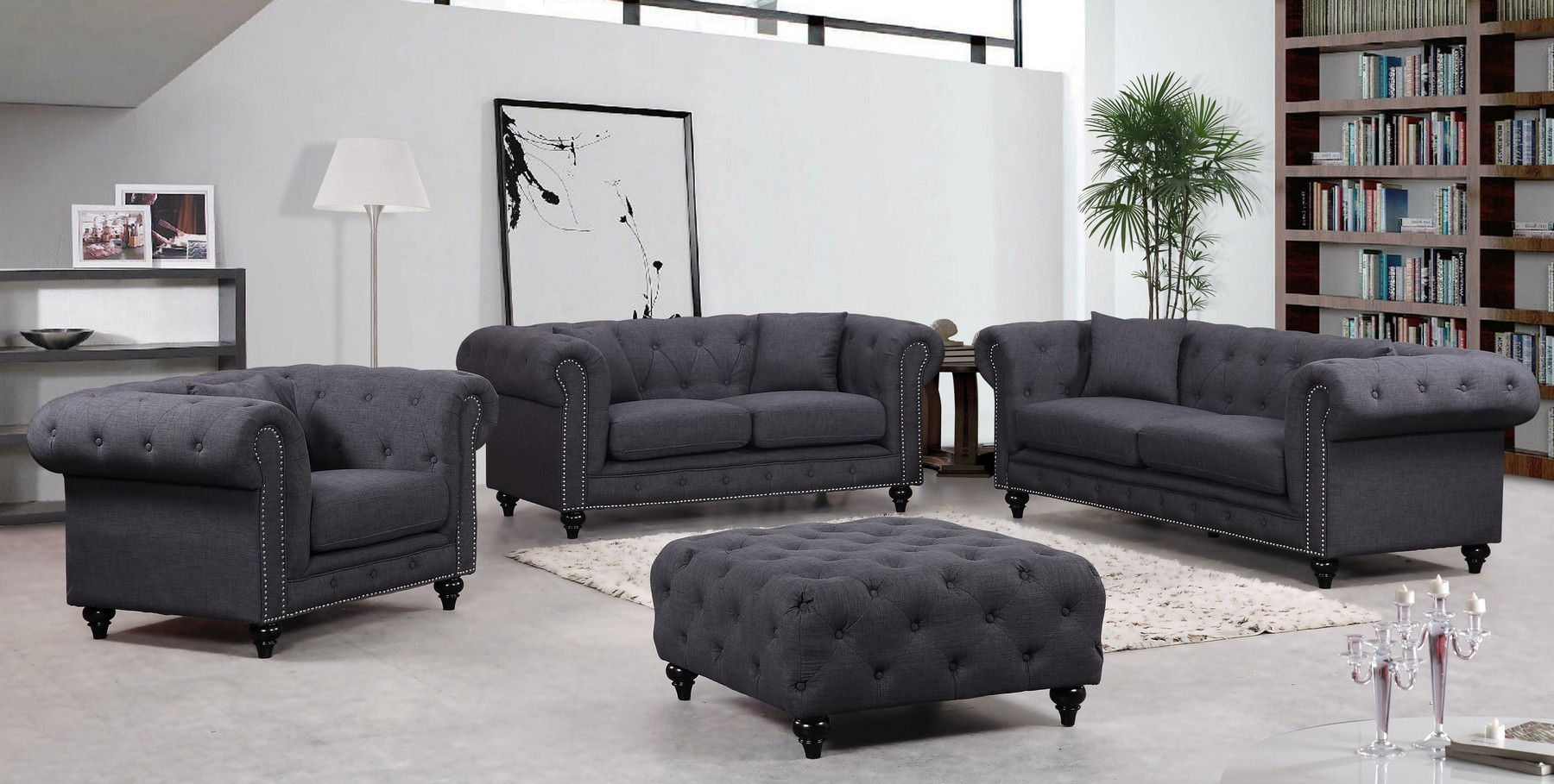 Chesterfield Gray Sofa + Love + Chair + Ottoman