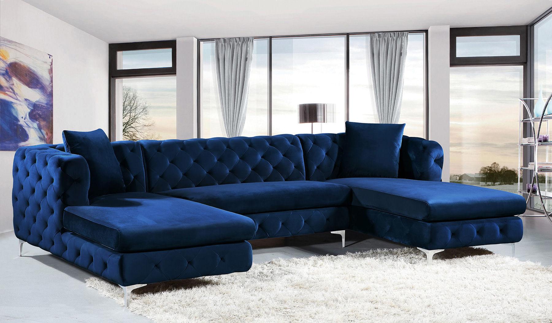 Gail Blue Sectional Sofa 664 Miranda