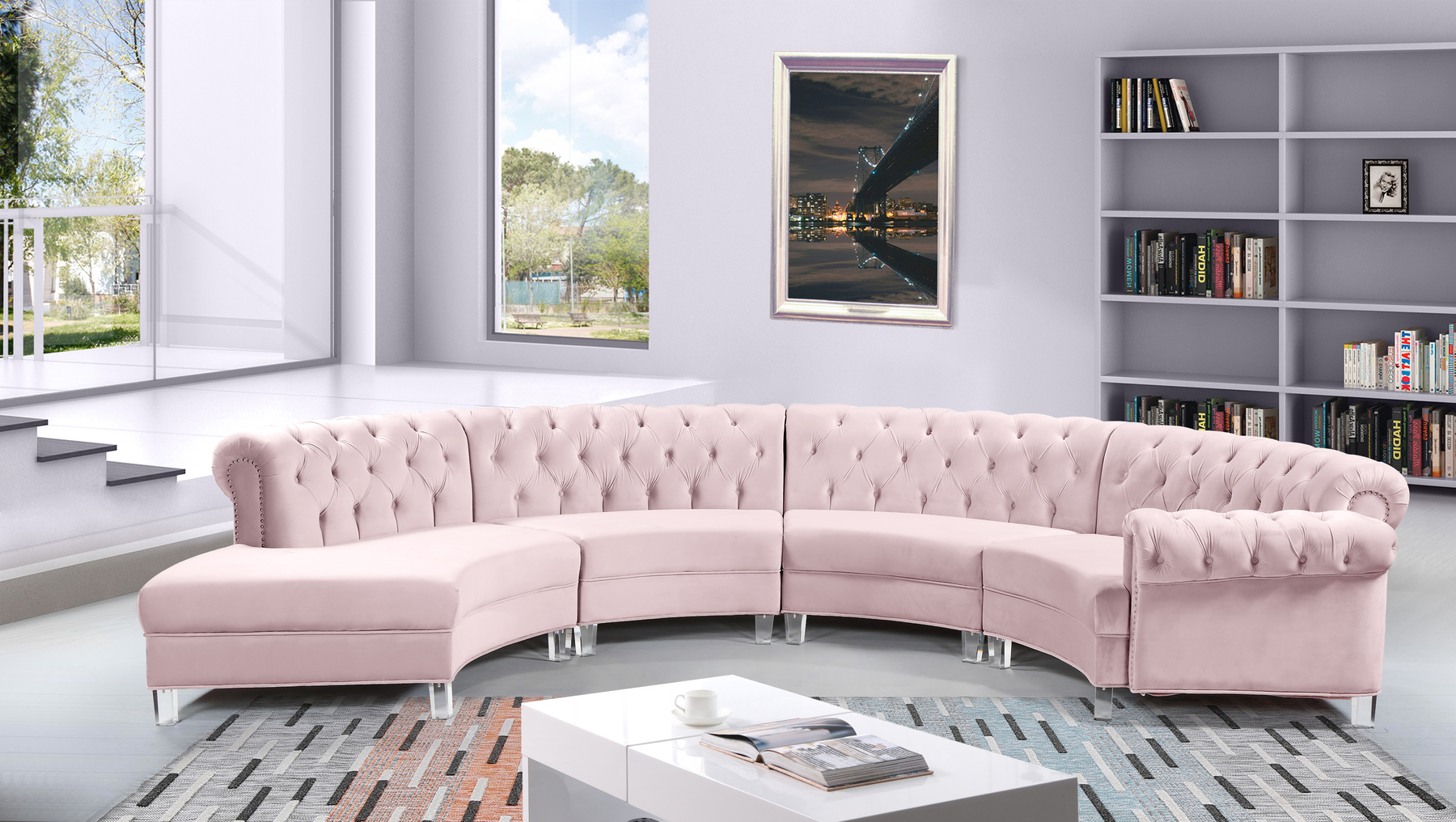 Picture of: Anabella 4 Pink Sectional Sofa 697 Meridian Furniture Sectional Sofas Comfyco Furniture