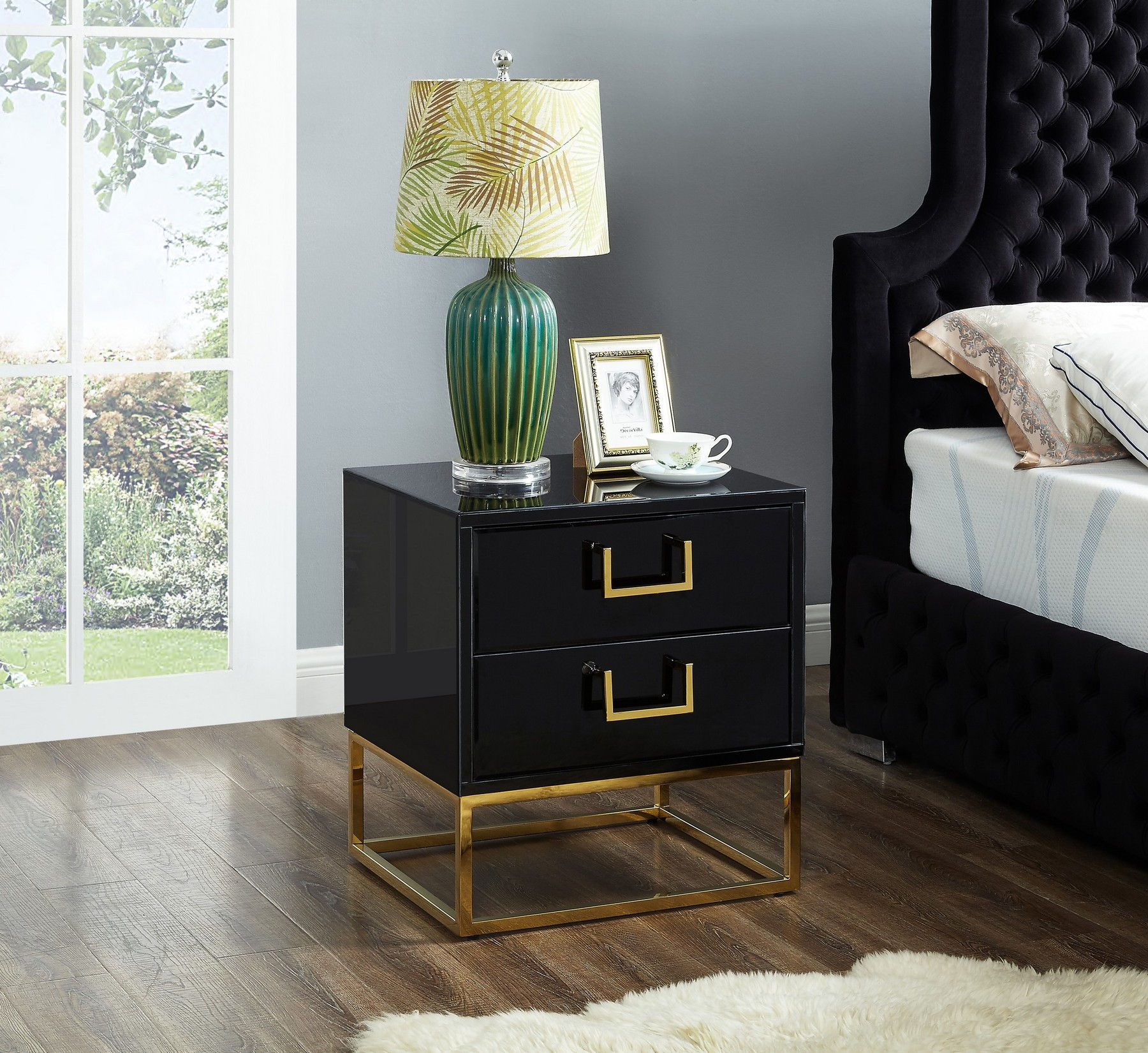 Nova Gold Black Night Stand 815 Meridian Furniture Night Stands Comfyco Furniture