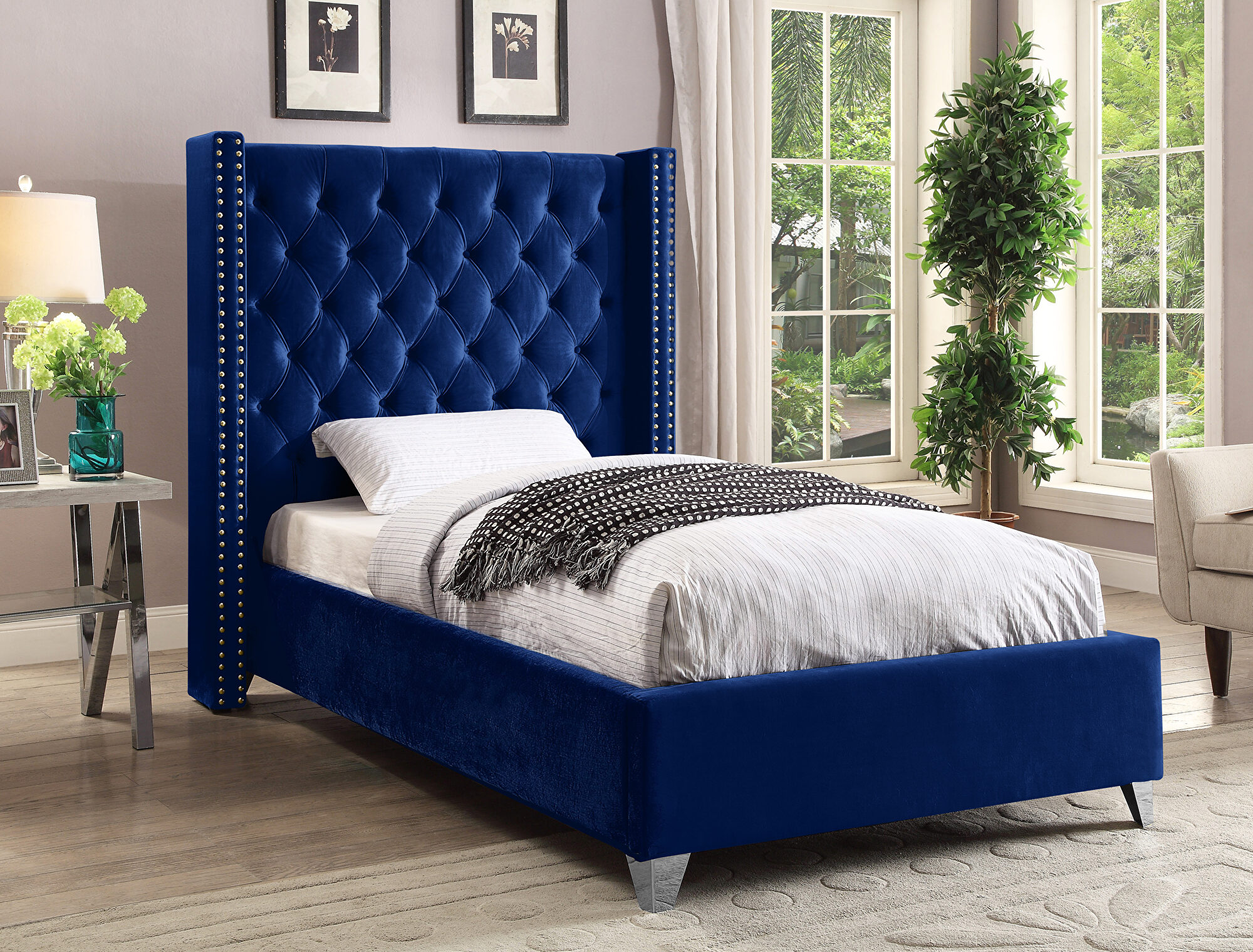 Aiden Navy Twin Size Bed aiden Meridian Furniture Twin ...