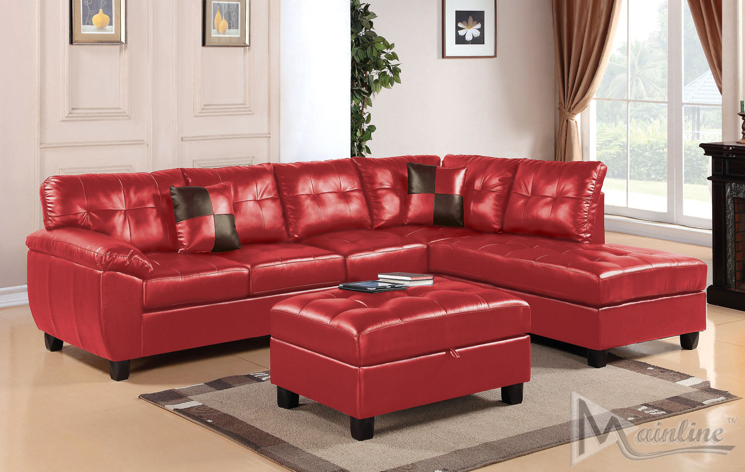 Dallas Red Sectional Sofa