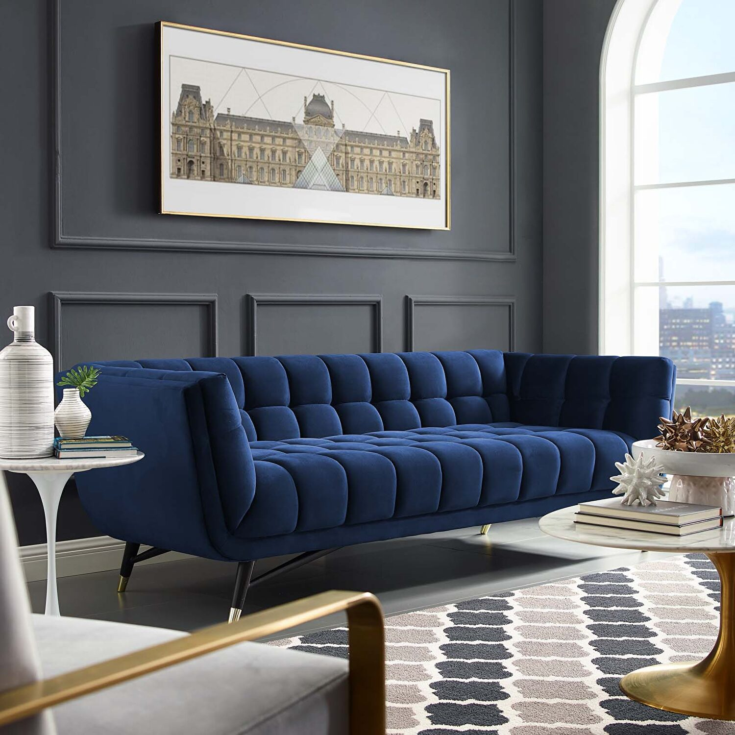 Adept Midnight Blue Sofa Eei 3059 Mid Modway Furniture Fabric Sofas Comfyco Furniture